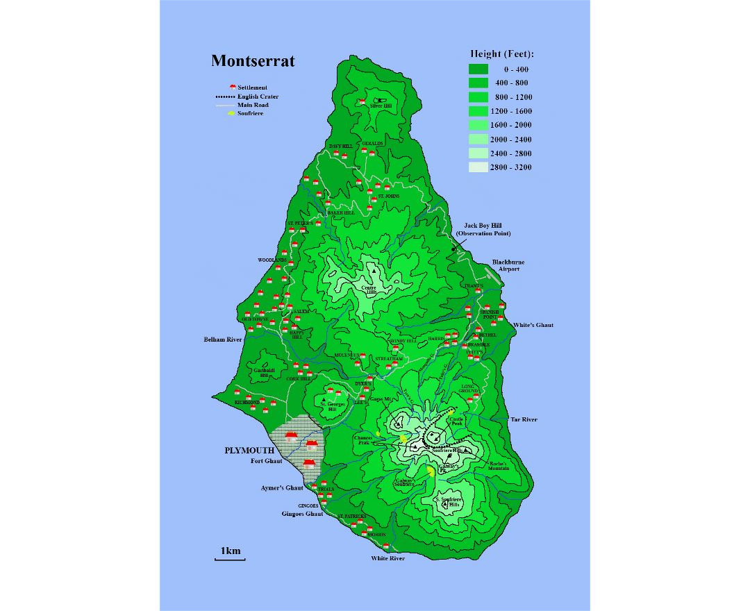 Maps of Montserrat Island | Collection of maps of Montserrat ... Map Of Montserra on