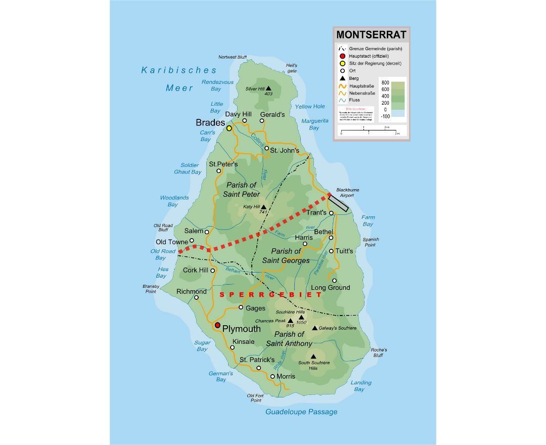 Maps of Montserrat Island Detailed map of Montserrat Island in