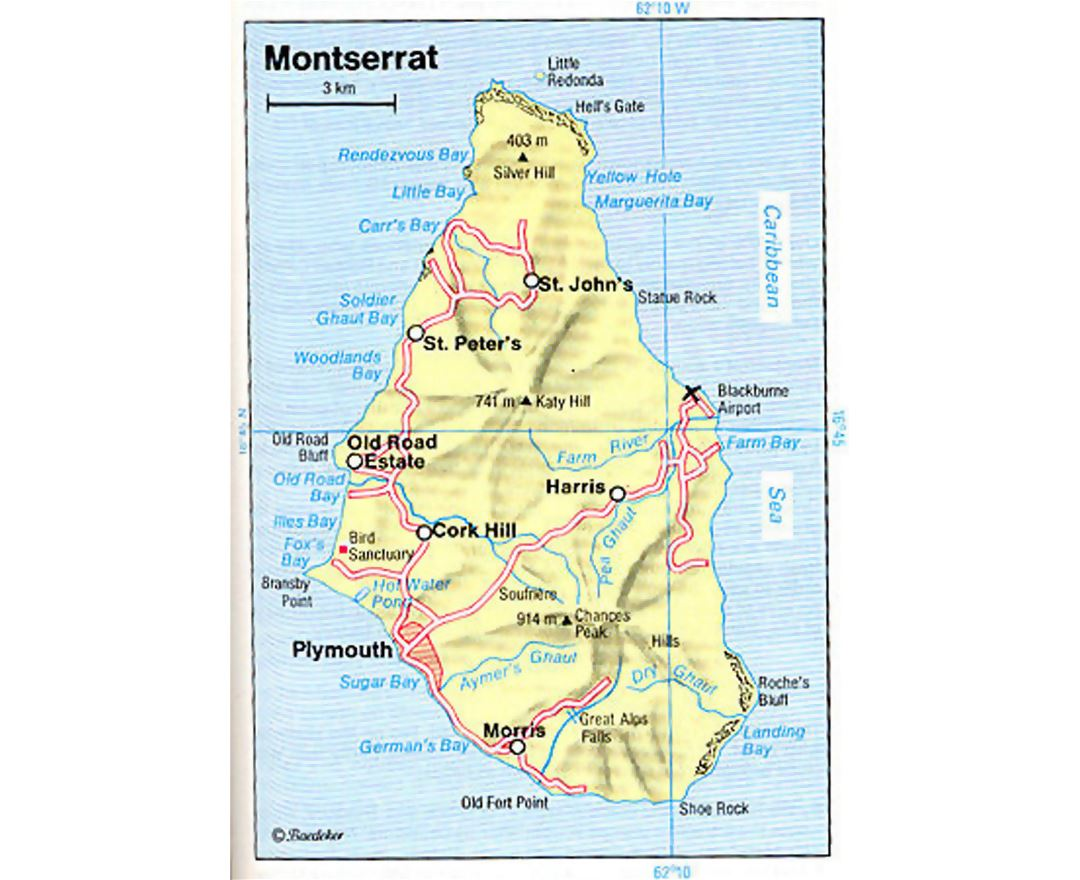 Road map of Montserrat island with relief