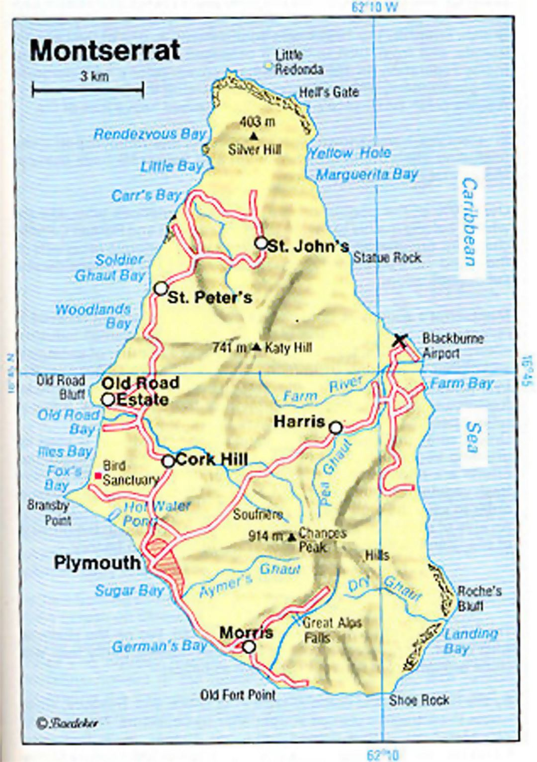 Road Map Of Montserrat Island With Relief Montserrat Island - Montserrat map