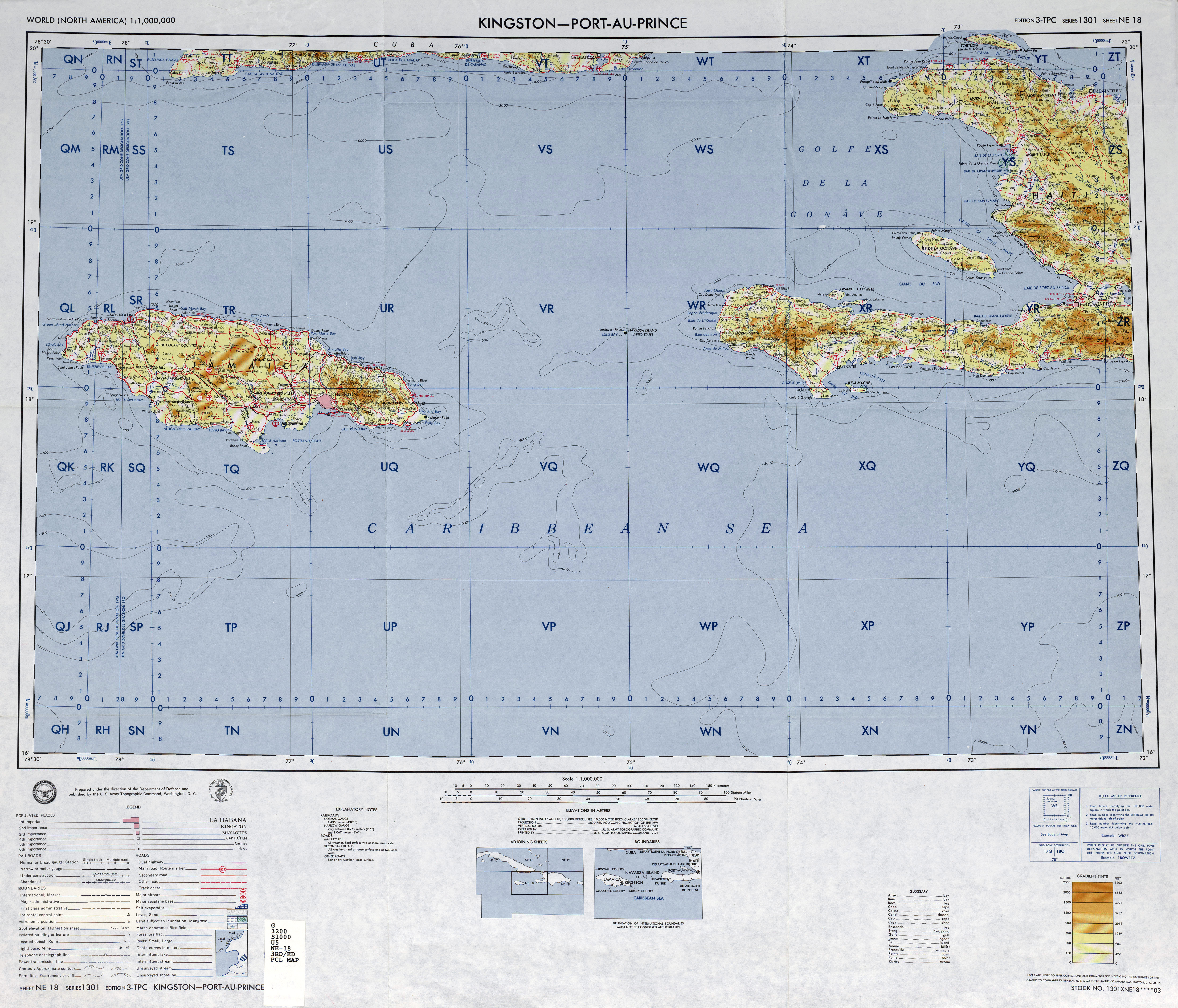 Large detailed topographical map of Jamaica Navassa Island US