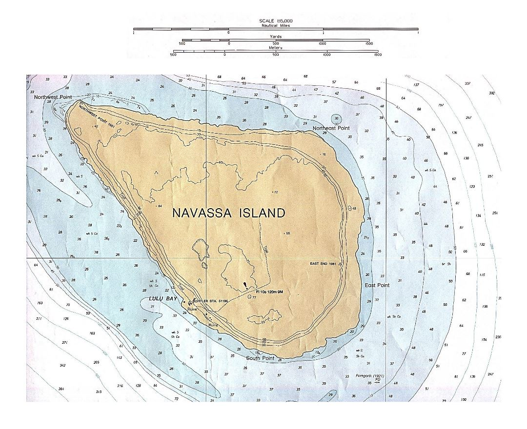 Large detailed topographical map of Navassa Island