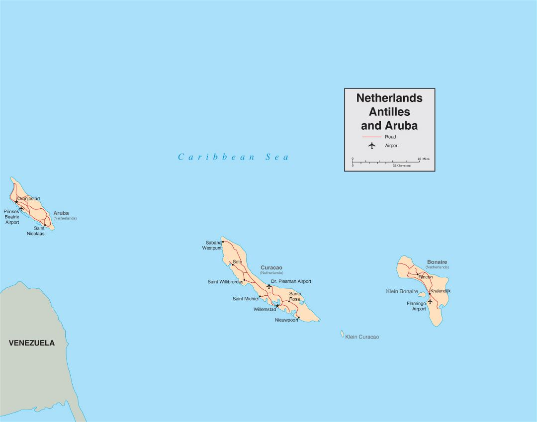 Detailed political map of Netherland Antilles and Aruba with roads, cities and airports