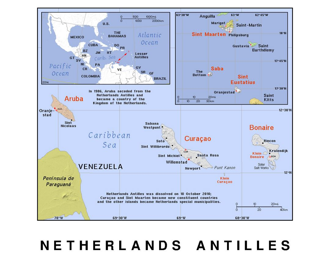 Detailed political map of Netherlands Antilles with relief