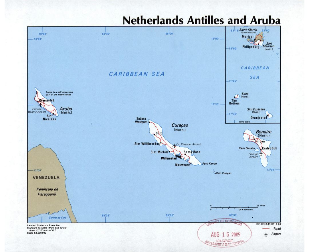 Large detailed political map of Netherland Antilles and Aruba with roads, cities and airports - 1989