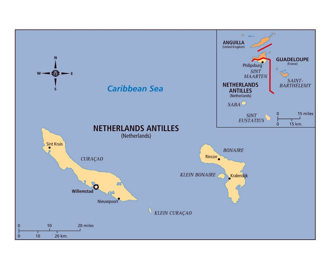 Large detailed political map of Netherlands Antilles with cities