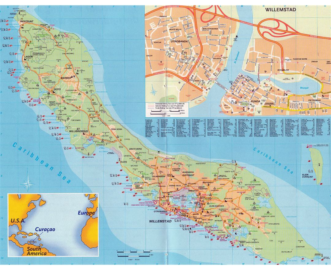 Large detailed road and travel map of Curacao Island, Netherlands Antilles
