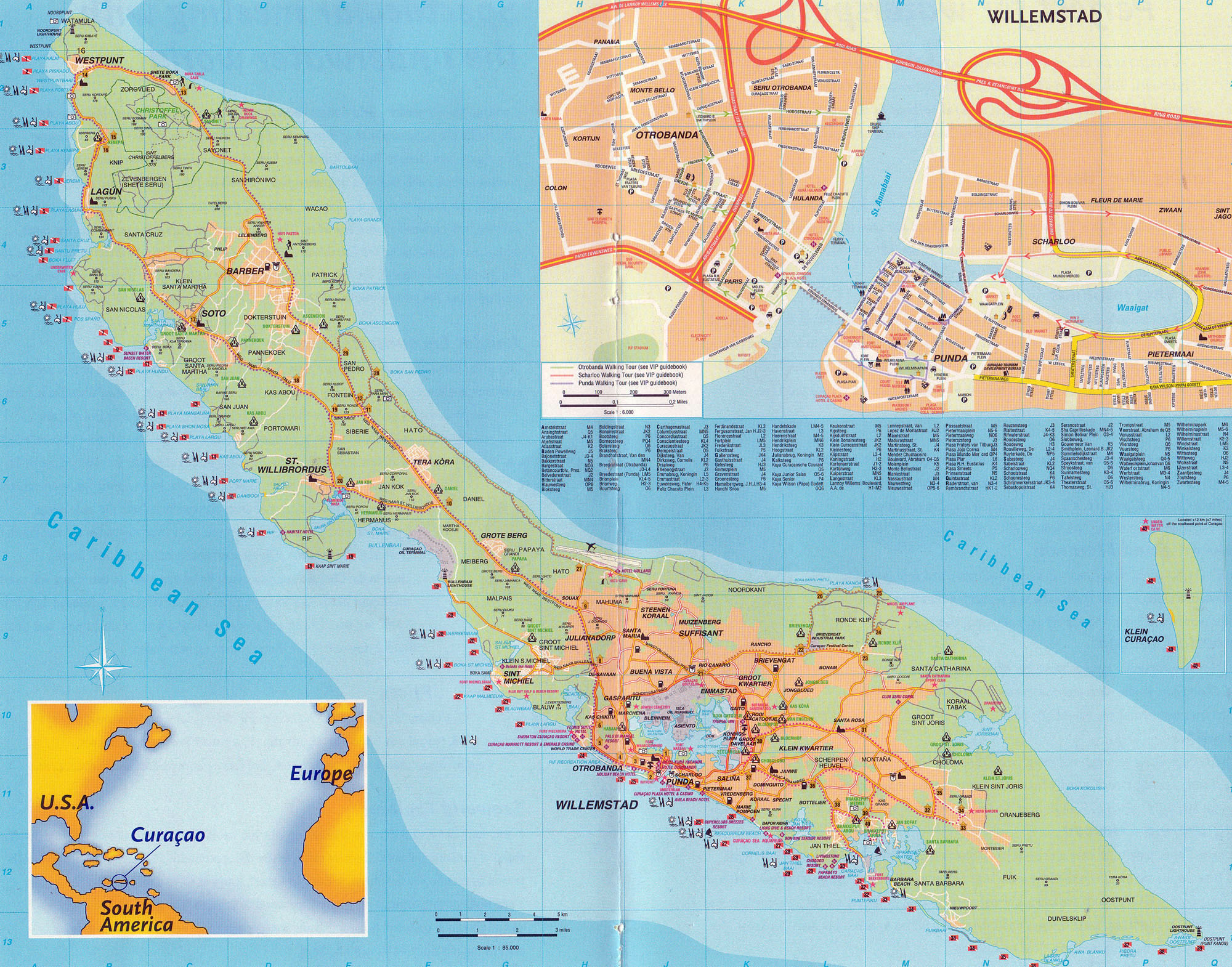 Large detailed road and travel map of Curacao Island Netherlands