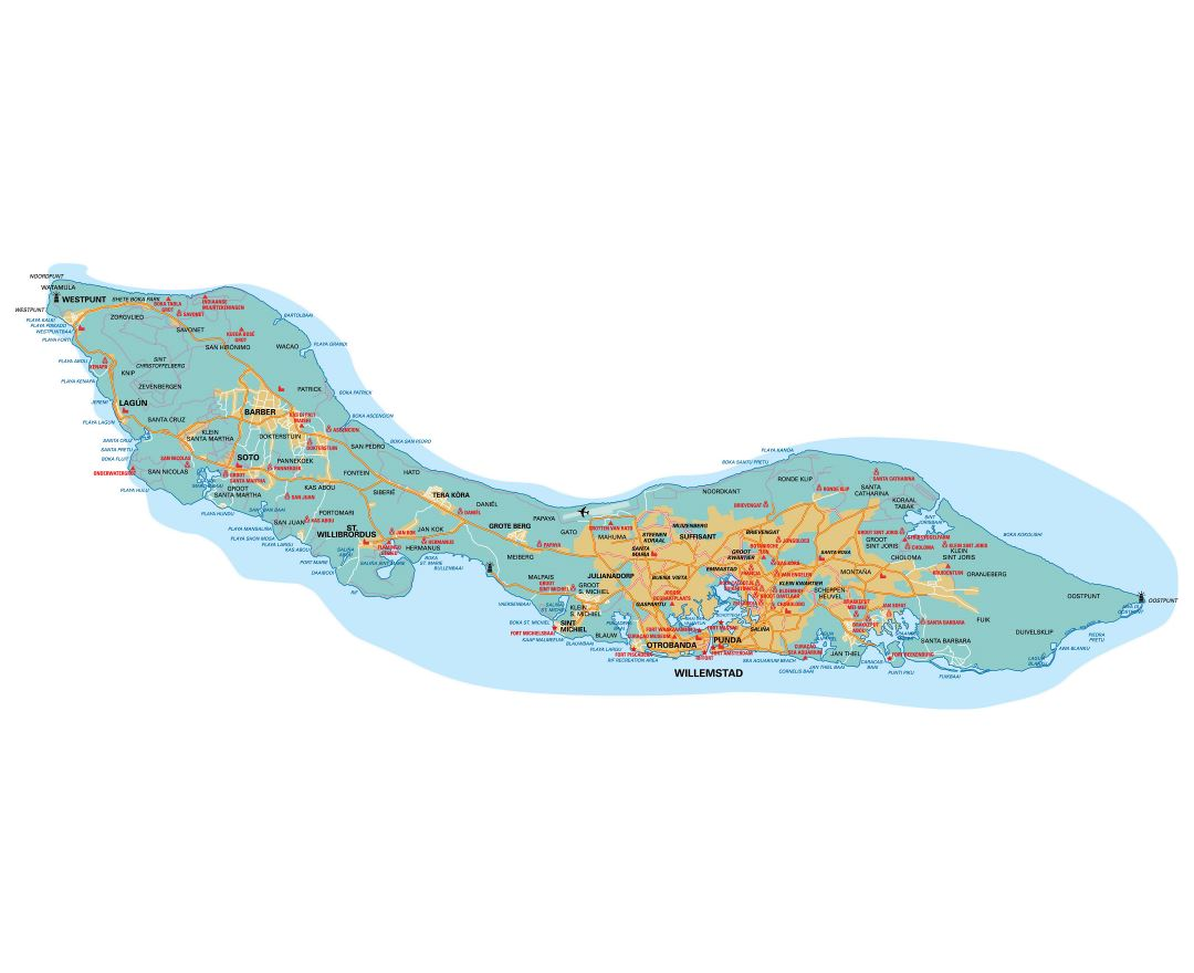 Large detailed road map of Curacao, Netherlands Antilles with airport