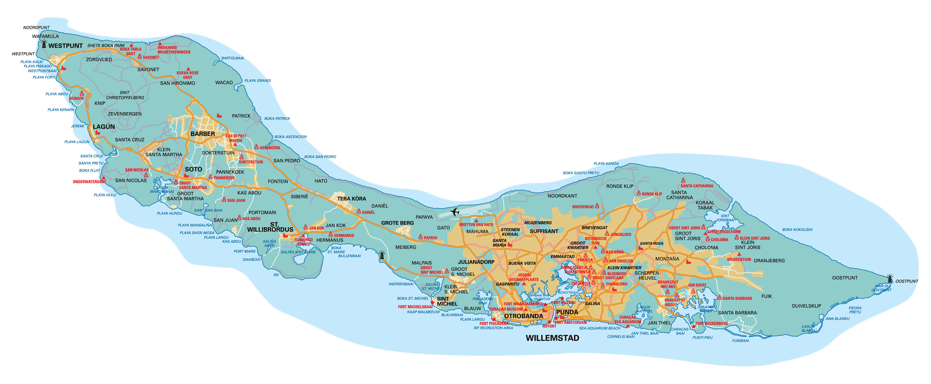 Large detailed road map of Curacao Netherlands Antilles with