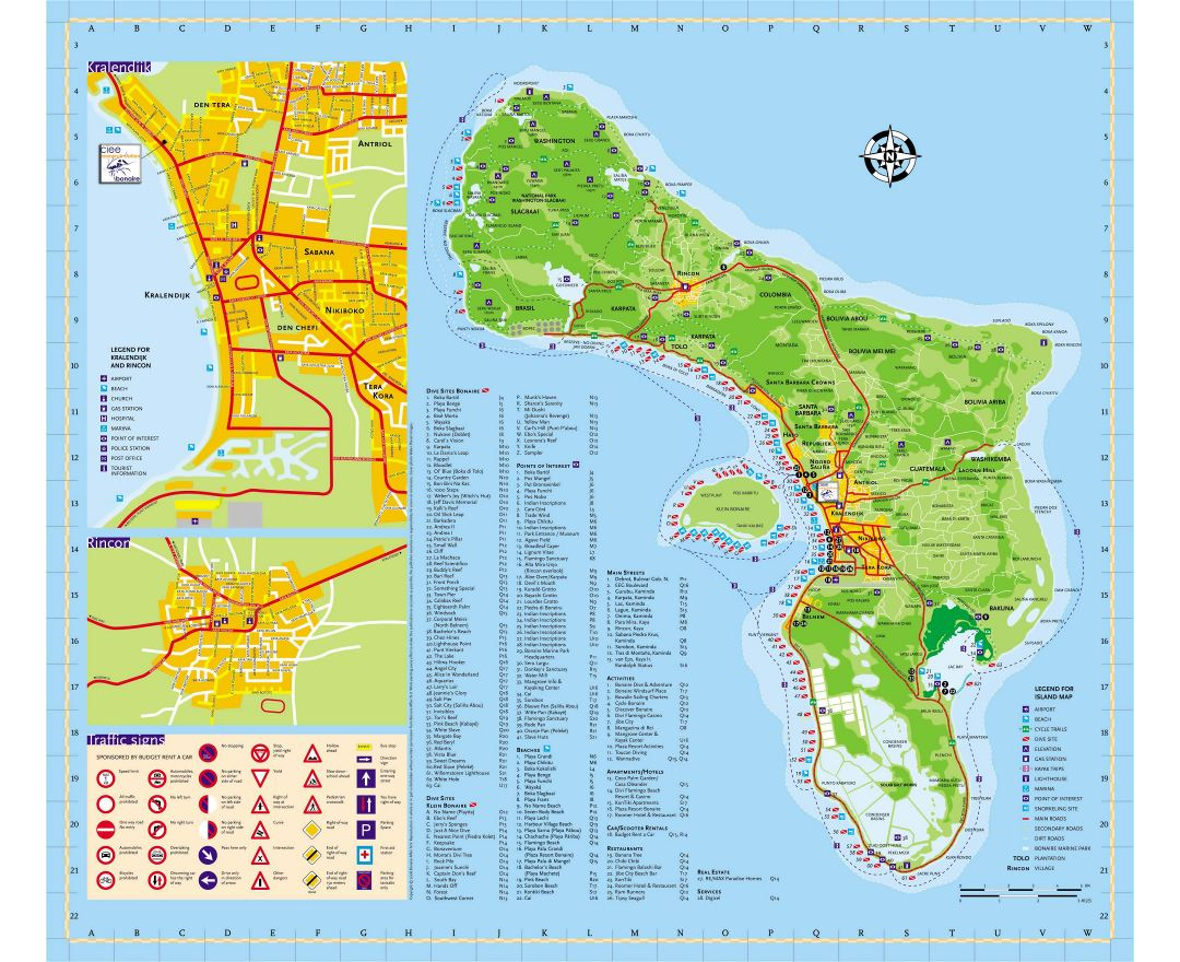 Large detailed tourist map of Bonaire Island, Netherlands Antilles with roads