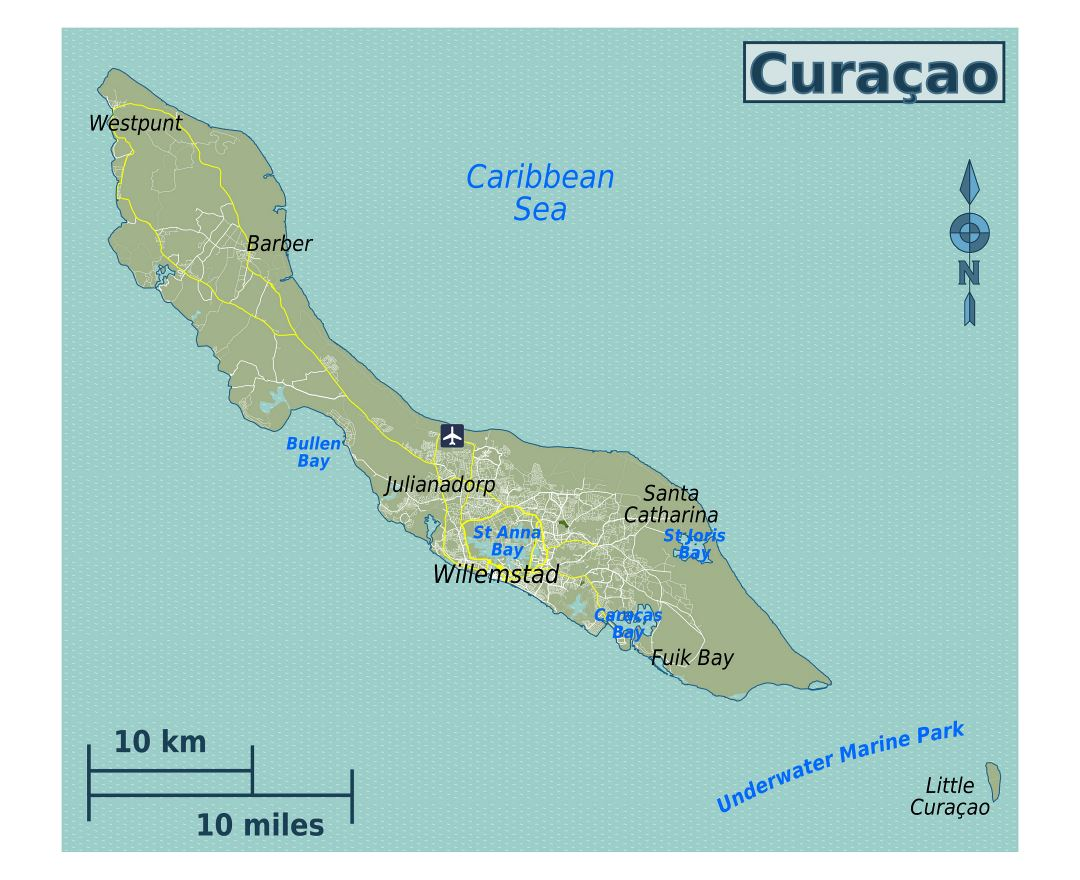 Large map of Curacao, Netherlands Antilles with roads, cities and airport