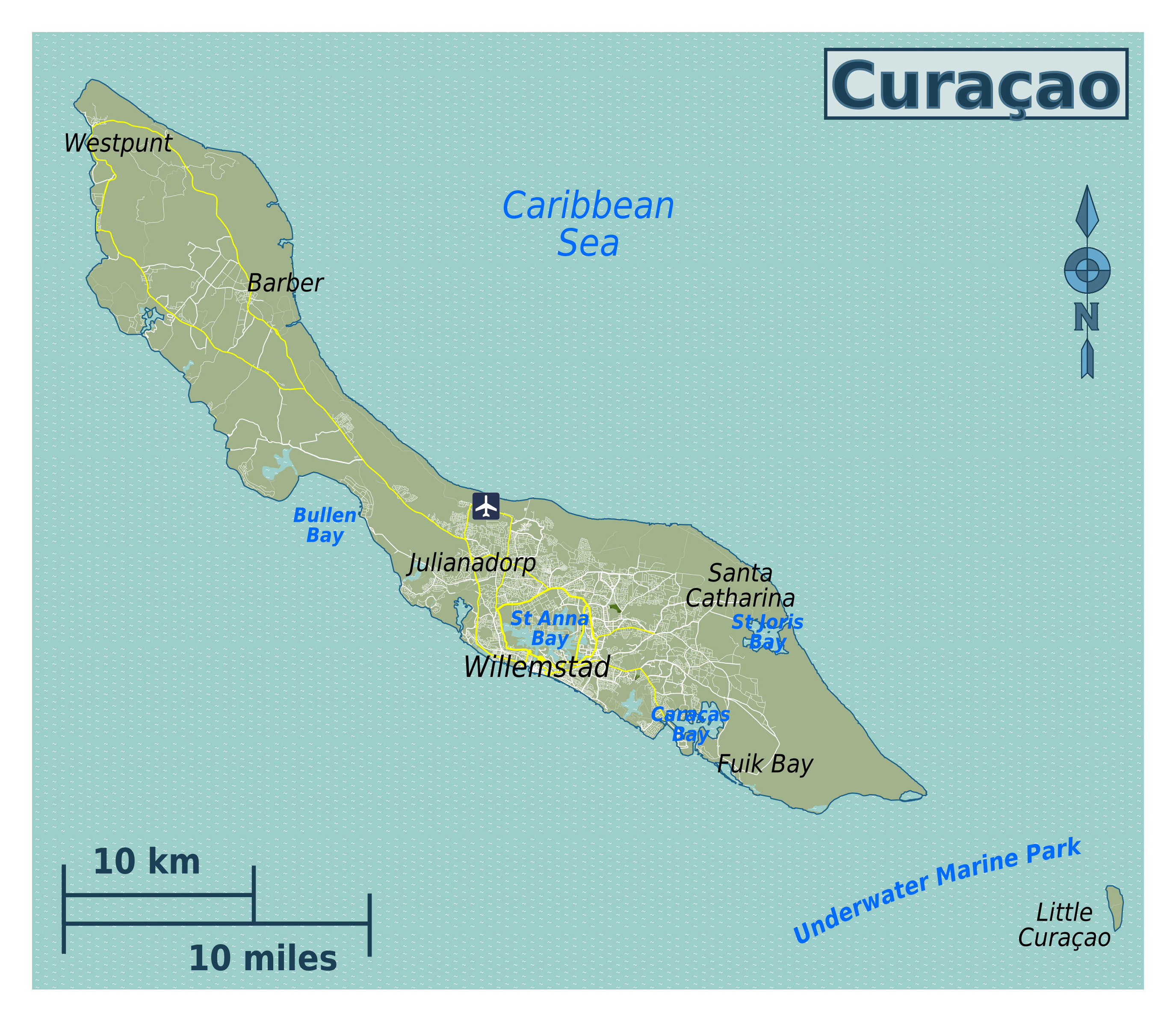 Large map of Curacao Netherlands Antilles with roads cities and