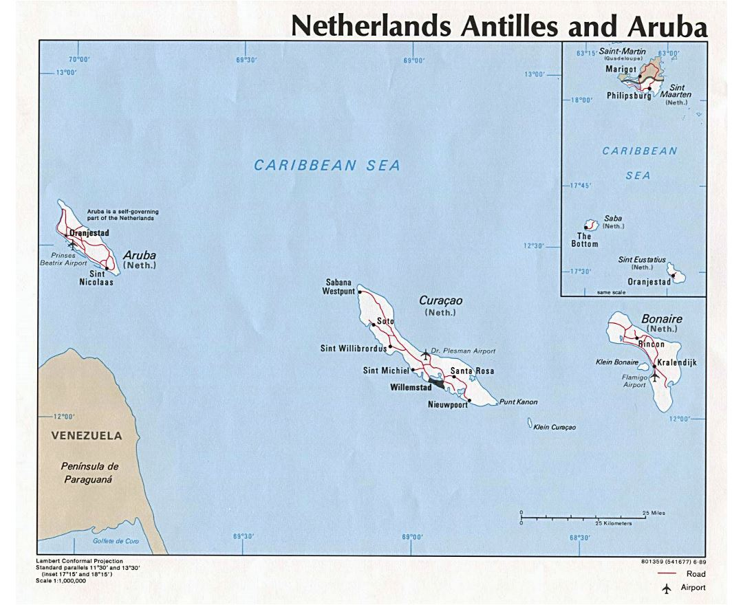 Large political map of Netherland Antilles and Aruba with roads, cities and airports - 1989