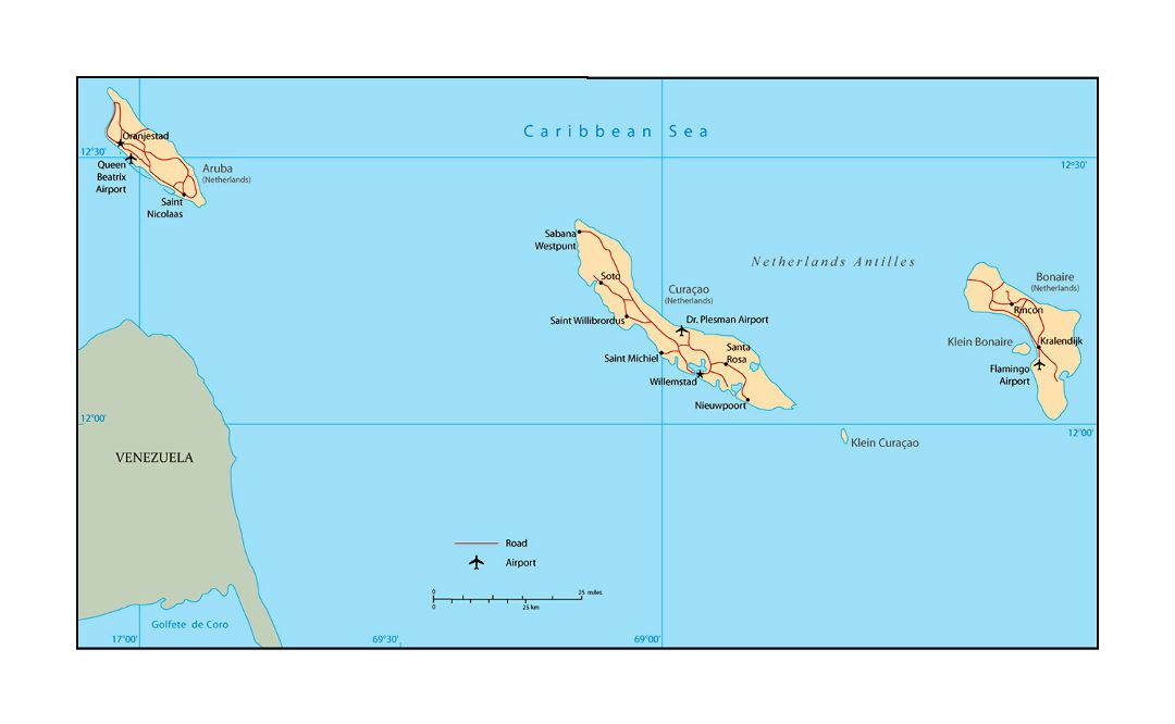 Large political map of Netherlands Antilles with roads, cities and airports