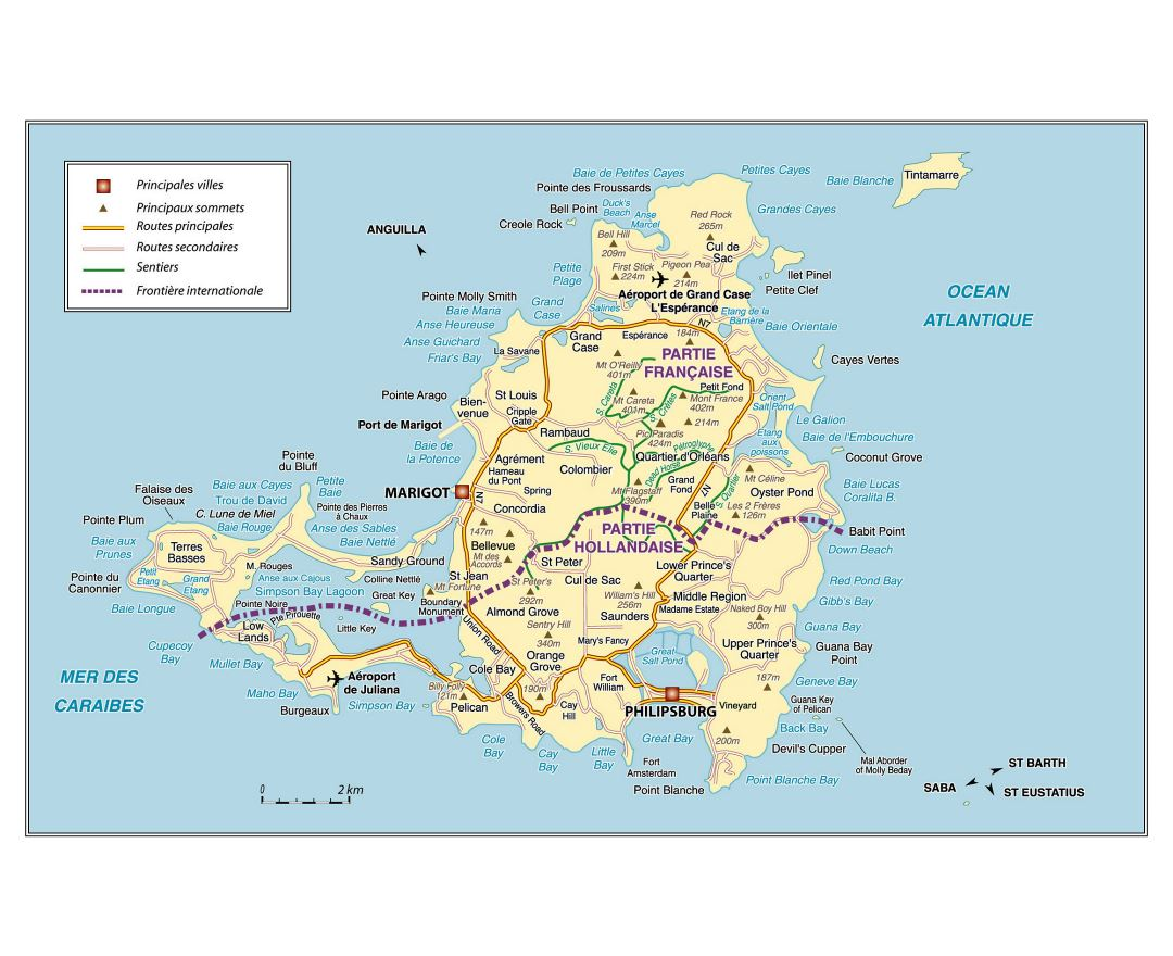 Large road map of Saint Martin Island, Netherlands Antilles