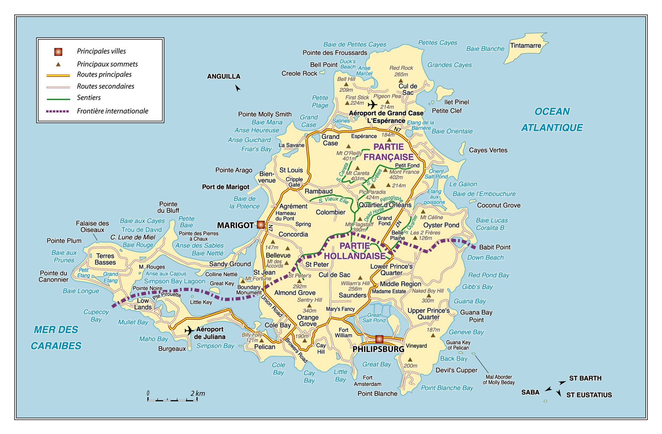 Large road map of Saint Martin Island Netherlands Antilles