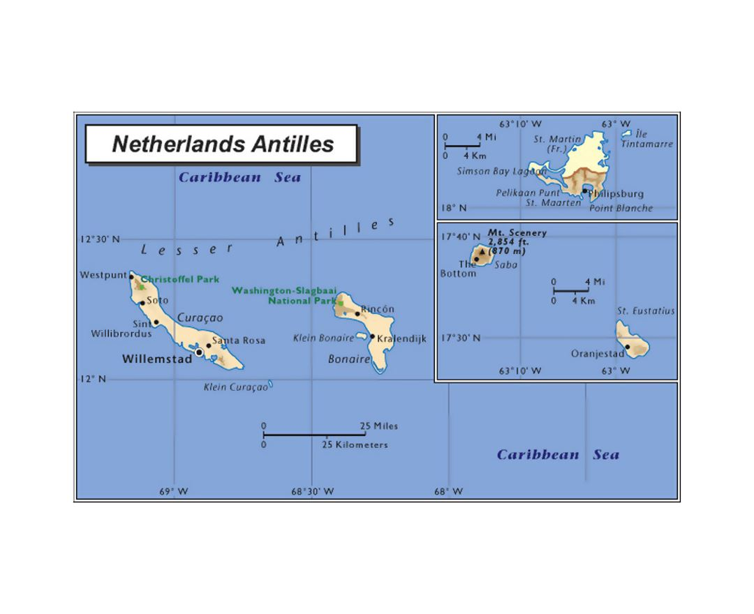 Political map of Netherland Antilles and Aruba with other marks