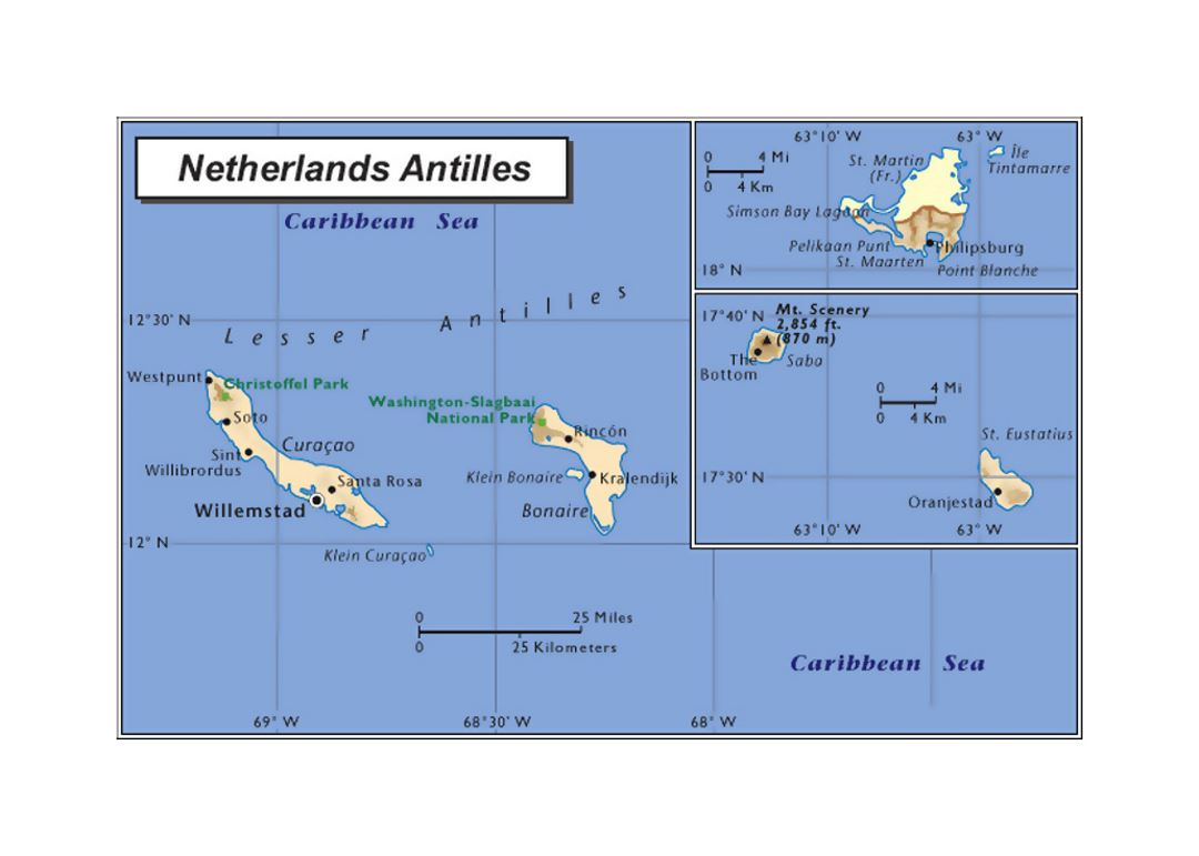 Political map of Netherland Antilles and Aruba with other ...