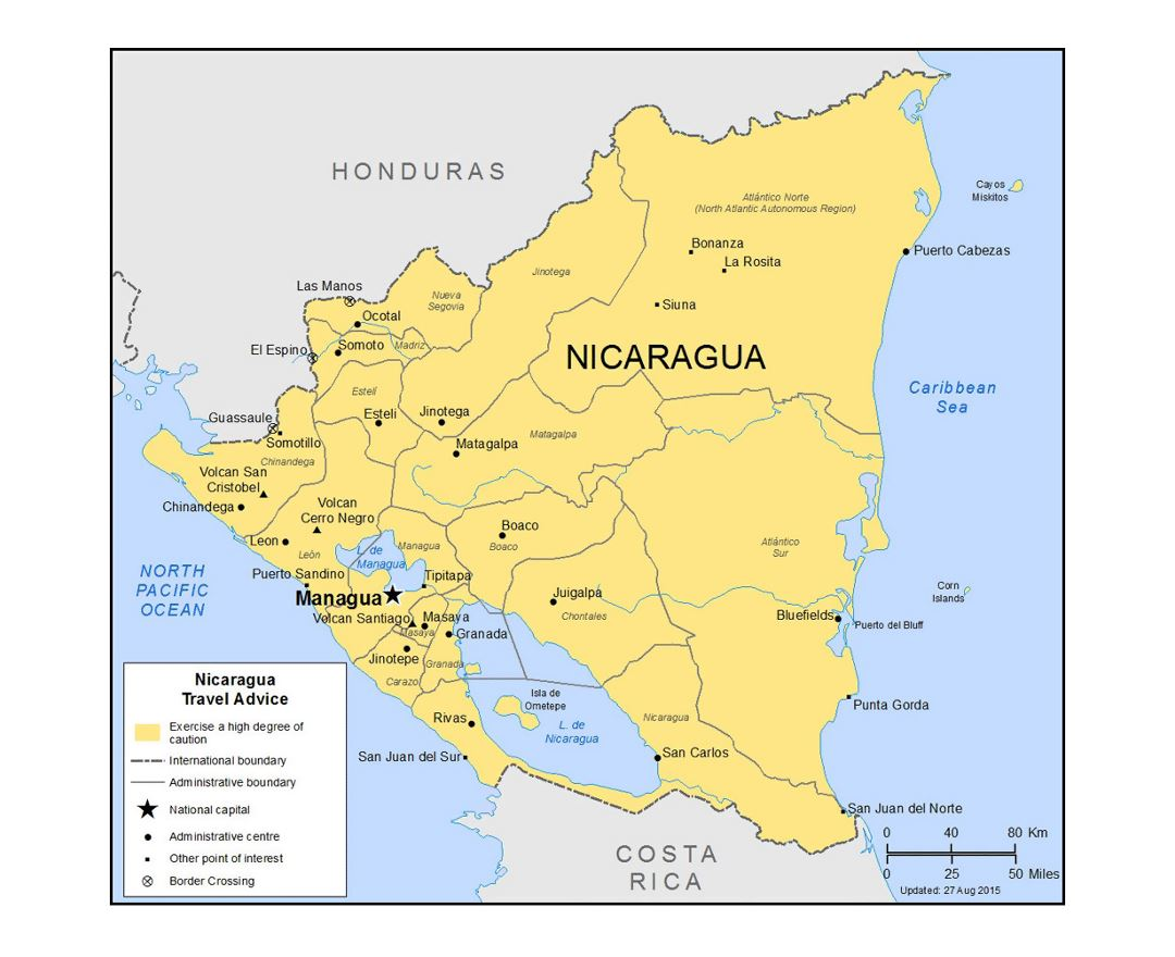 Detailed political and administrative divisions map of Nicaragua with major cities