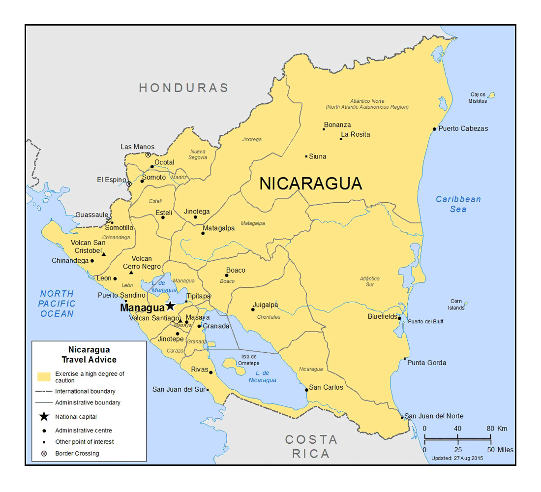 Detailed political and administrative divisions map of Nicaragua