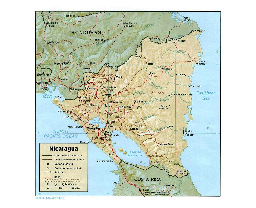 maps of nicaragua  detailed map of nicaragua in english  tourist  - detailed political and administrative map of nicaragua with relief roadsrailroads and major cities