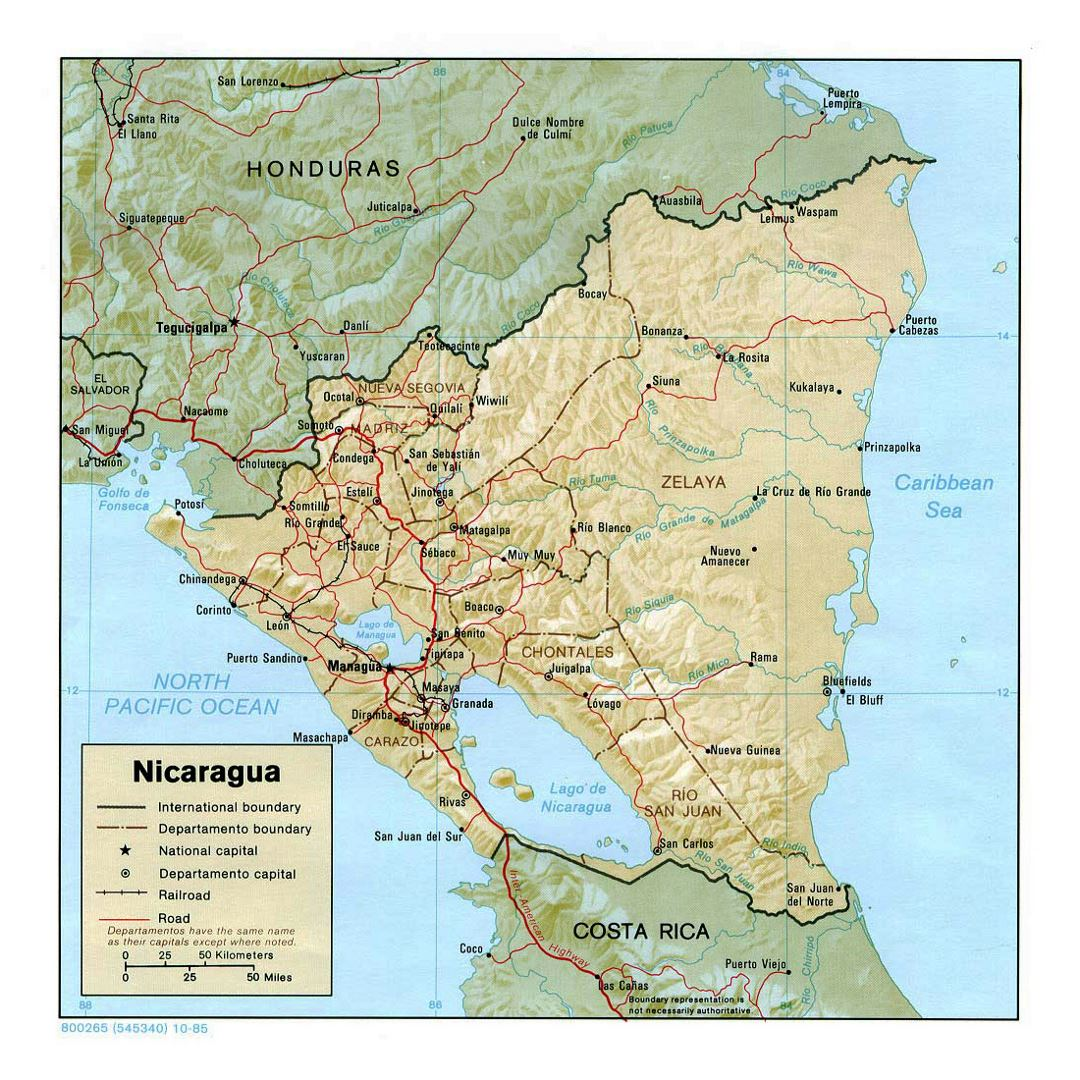 Detailed political and administrative map of Nicaragua with relief, roads, railroads and major cities - 1985