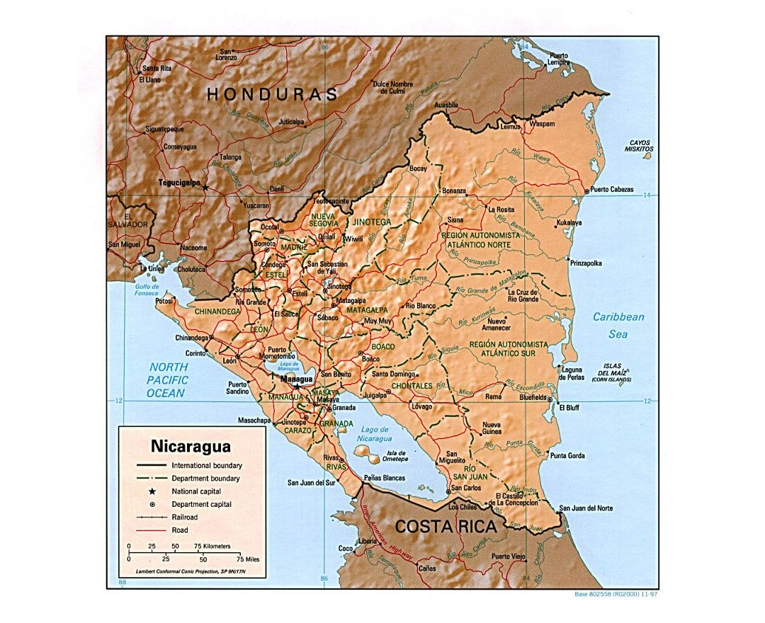 Detailed political and administrative map of Nicaragua with relief, roads, railroads and major cities - 1997