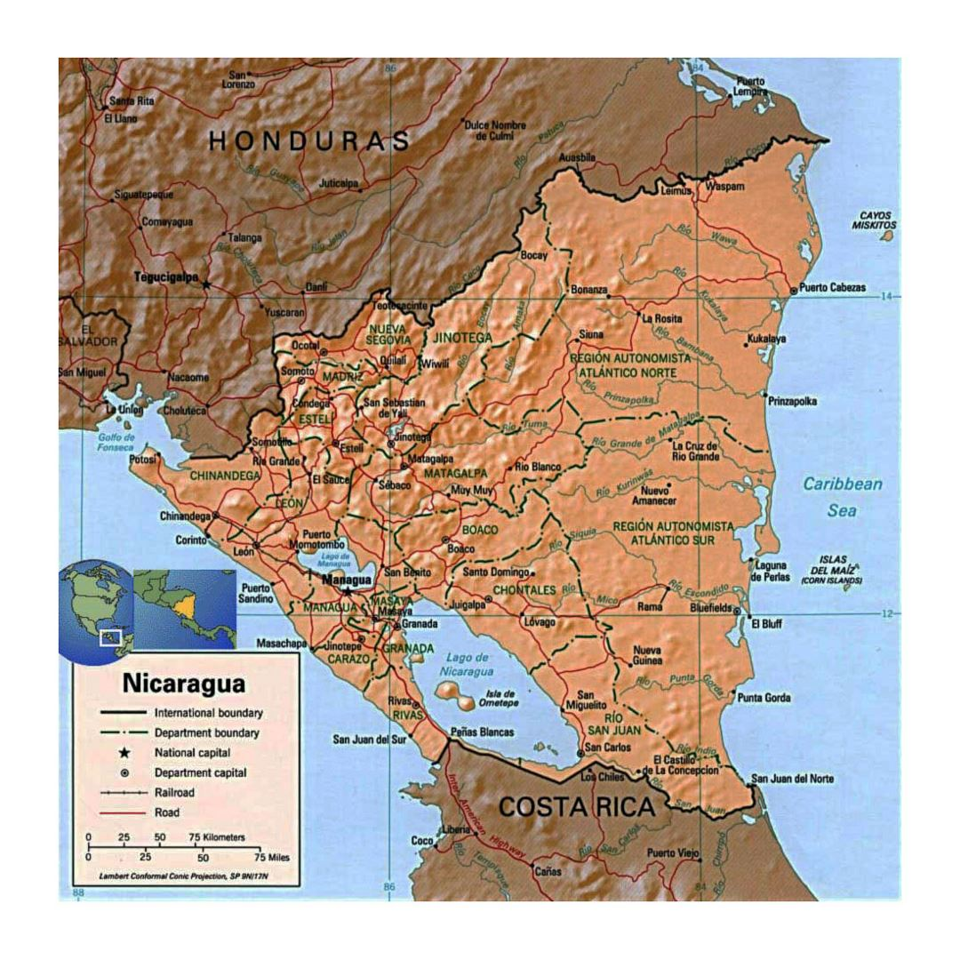 Detailed political and administrative map of Nicaragua with relief, roads, railroads and major cities