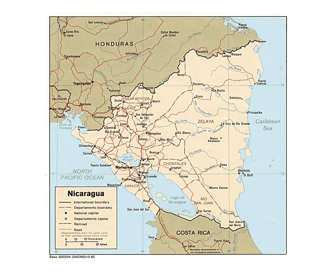 Detailed political and administrative map of Nicaragua with roads, railroads and major cities - 1985