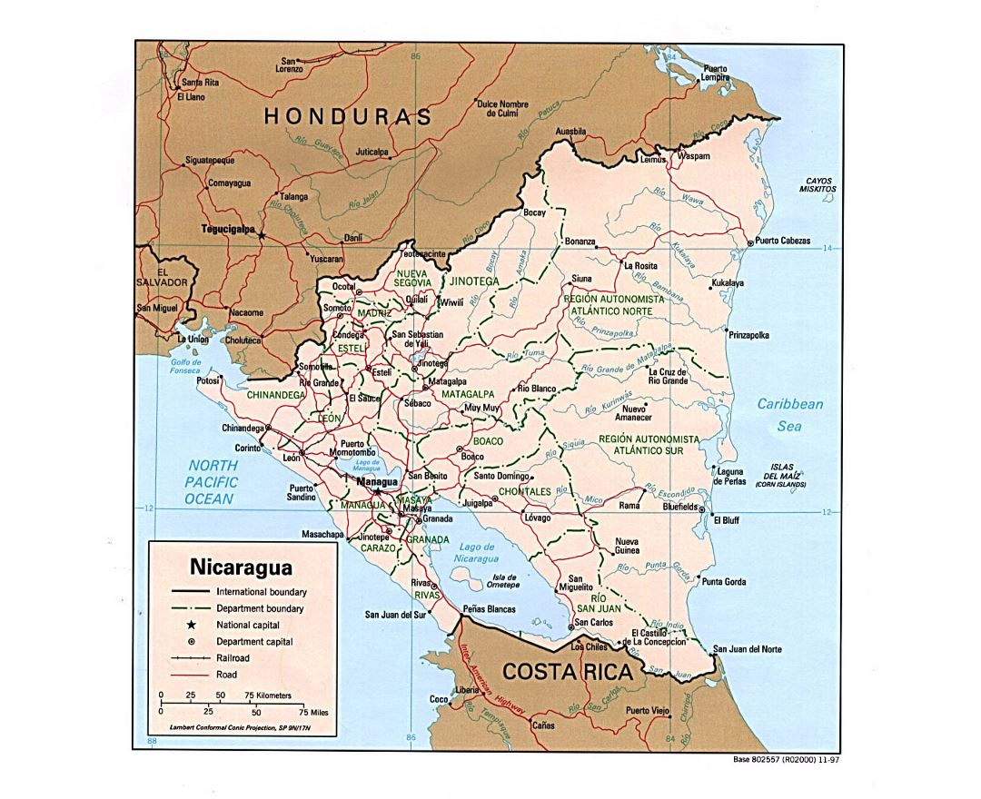 Detailed political and administrative map of Nicaragua with roads, railroads and major cities - 1997