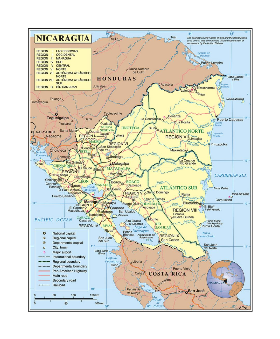Detailed political and administrative map of Nicaragua with roads, railroads, cities and airports