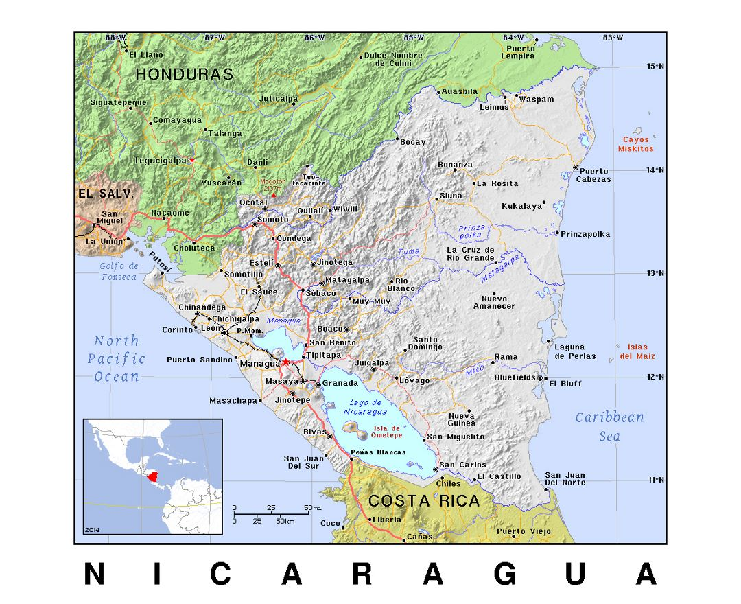 Detailed political map of Nicaragua with relief
