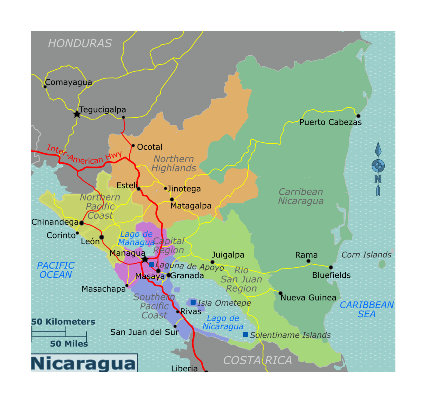 Detailed regions map of Nicaragua | Nicaragua | North ... on map of la concepcion nicaragua, map of nandaime nicaragua, map of granada nicaragua, map of waslala nicaragua, map of ocotal nicaragua, map of momotombo nicaragua, map of diriamba nicaragua, map of nueva guinea nicaragua, map of managua nicaragua, map of bluefields nicaragua, map of pearl lagoon nicaragua, map of las penitas nicaragua, map of san rafael del sur nicaragua, map of chinandega nicaragua, map of north america nicaragua, map of camoapa nicaragua, map of big corn island nicaragua, map of jinotega nicaragua, map of playa maderas nicaragua, map of leon nicaragua,