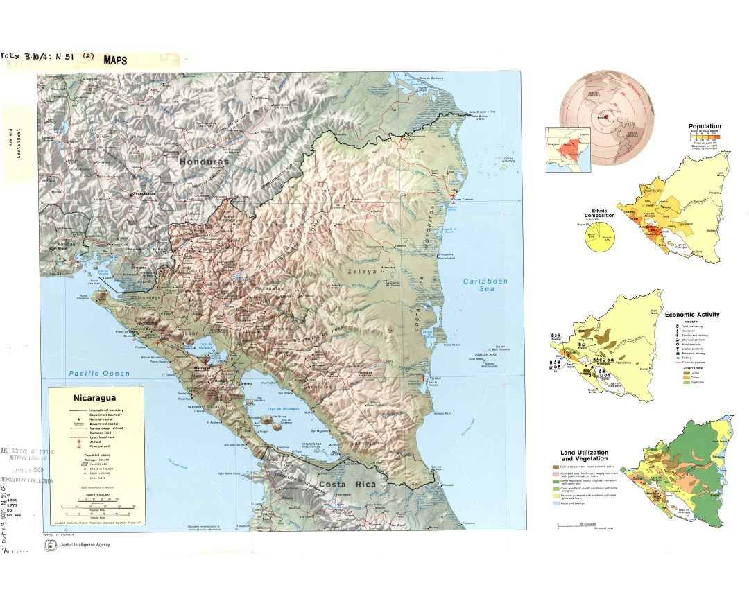 Large detailed country profile map of Nicaragua - 1979