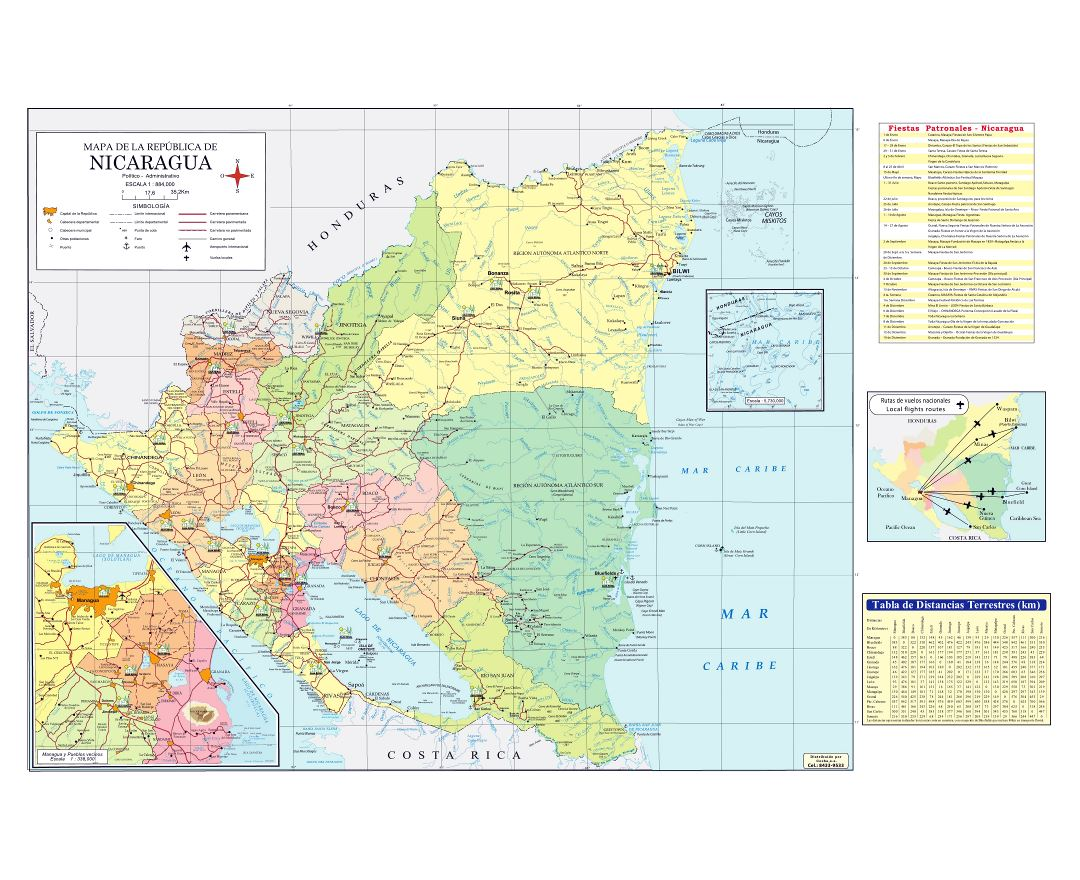 Large detailed map of Nicaragua with administrative divisions, roads, cities, ports, airports and other marks
