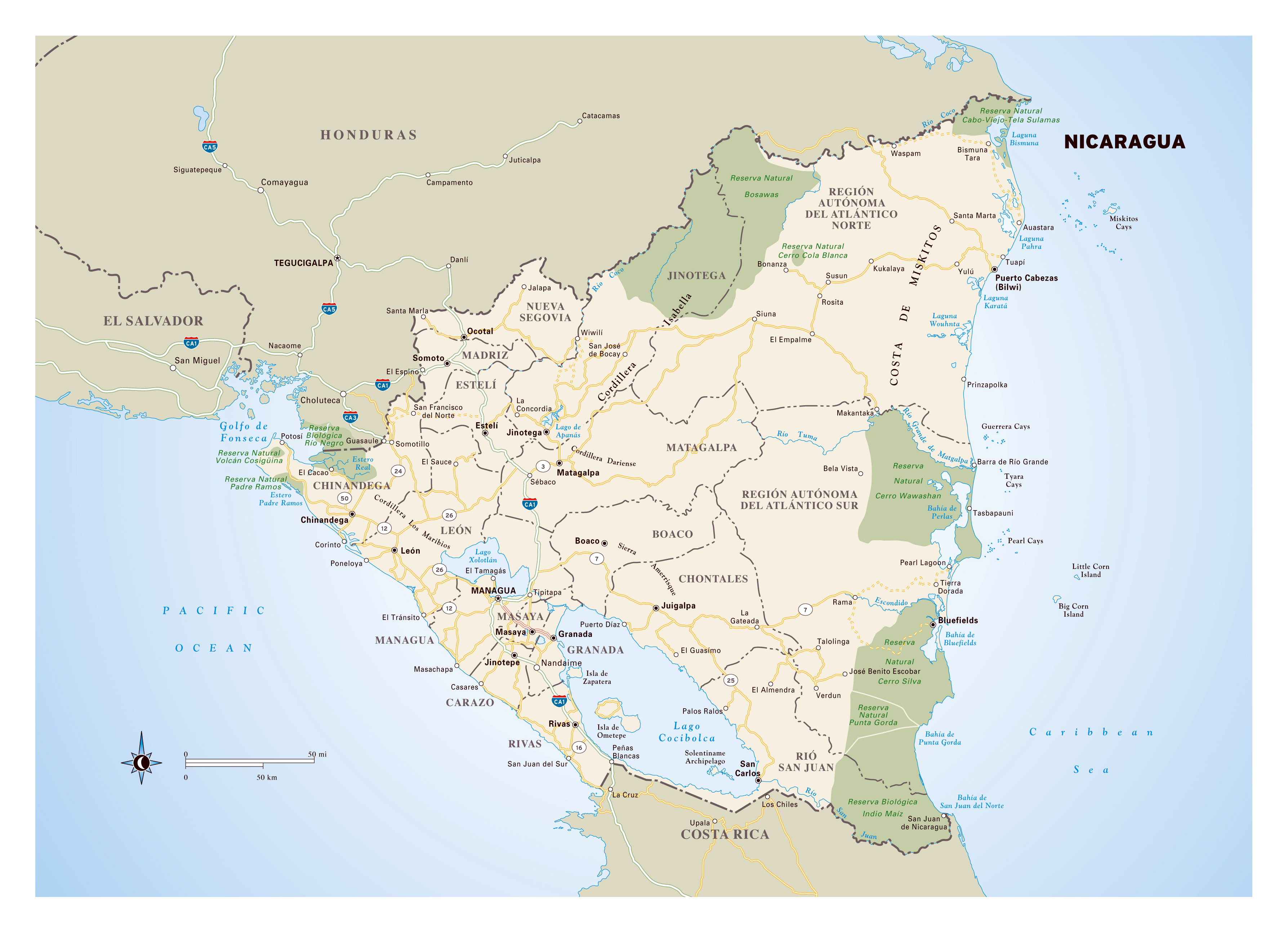Large Detailed Map Of Nicaragua With Administrative Divisons - Where is nicaragua on the world map