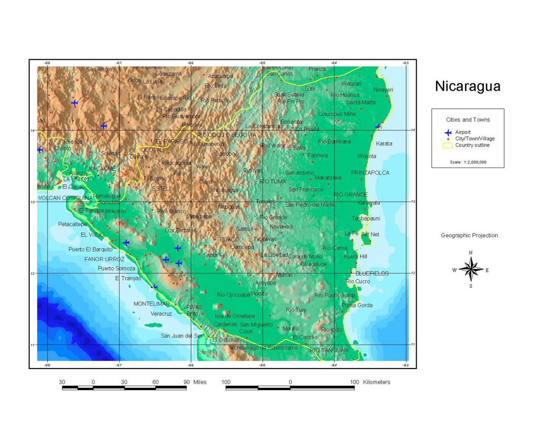 Large detailed map of Nicaragua with relief, cities, towns and airports