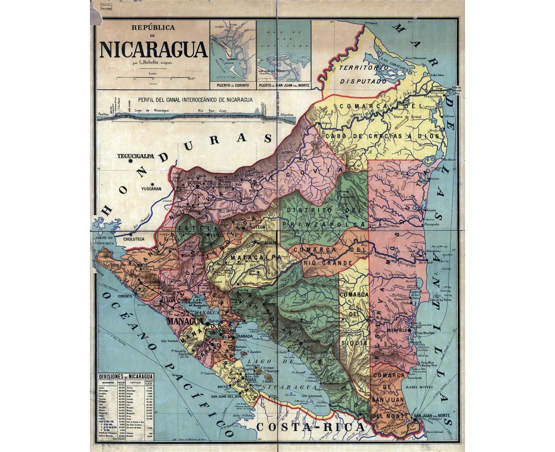 Large detailed old administrative divisions map of Nicaragua - 1913