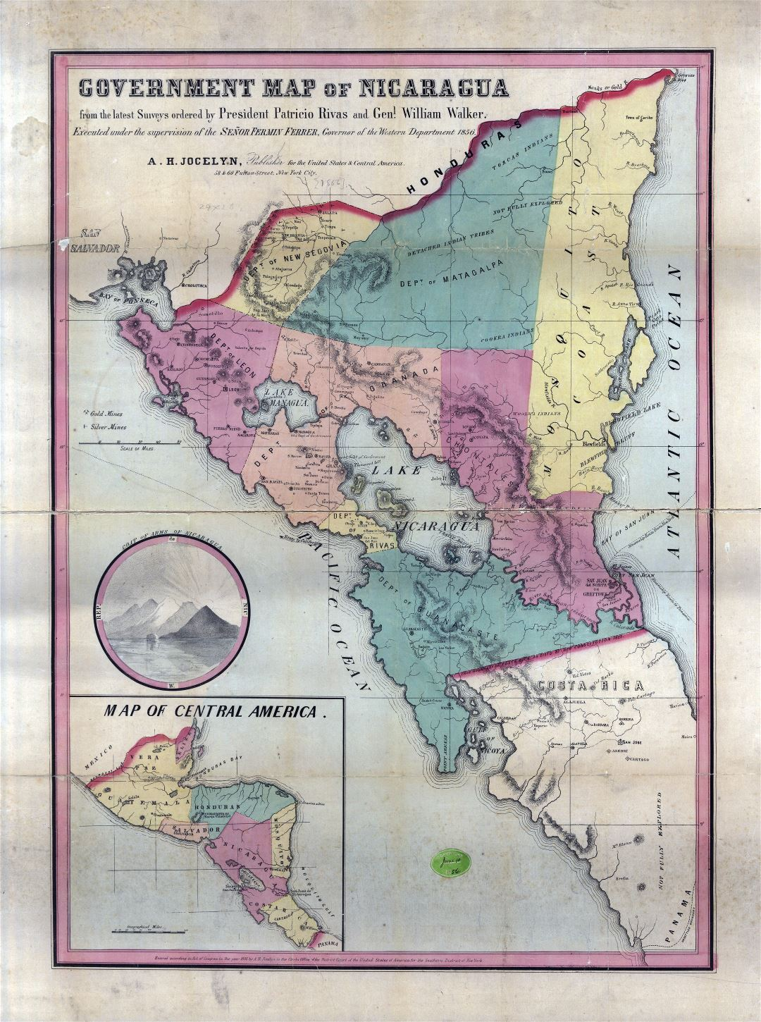 Large detailed old government map of Nicaragua - 1856