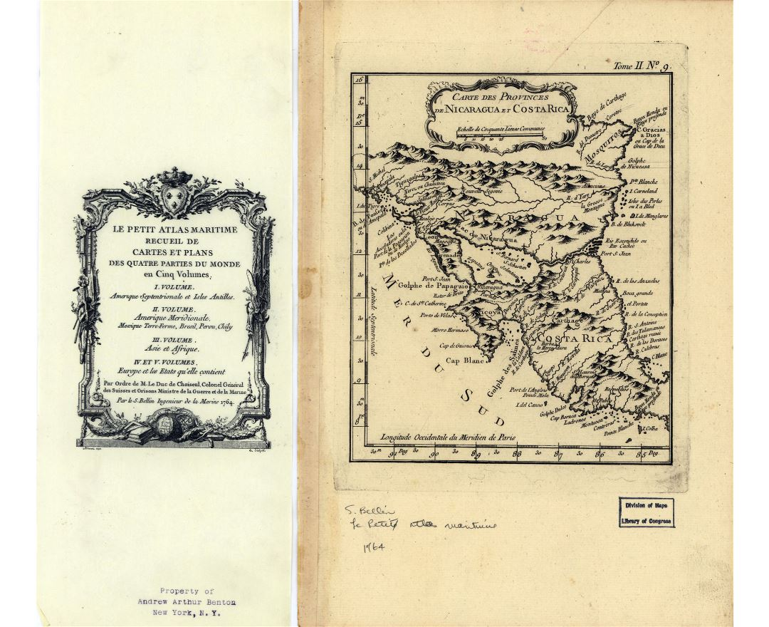 Large detailed old map of Nicaragua and Costa Rica - 1764