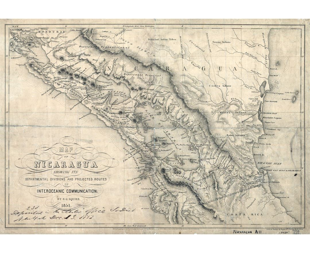 Large detailed old map of Nicaragua with departmental divisions and projected routes of interoceanic communication - 1851