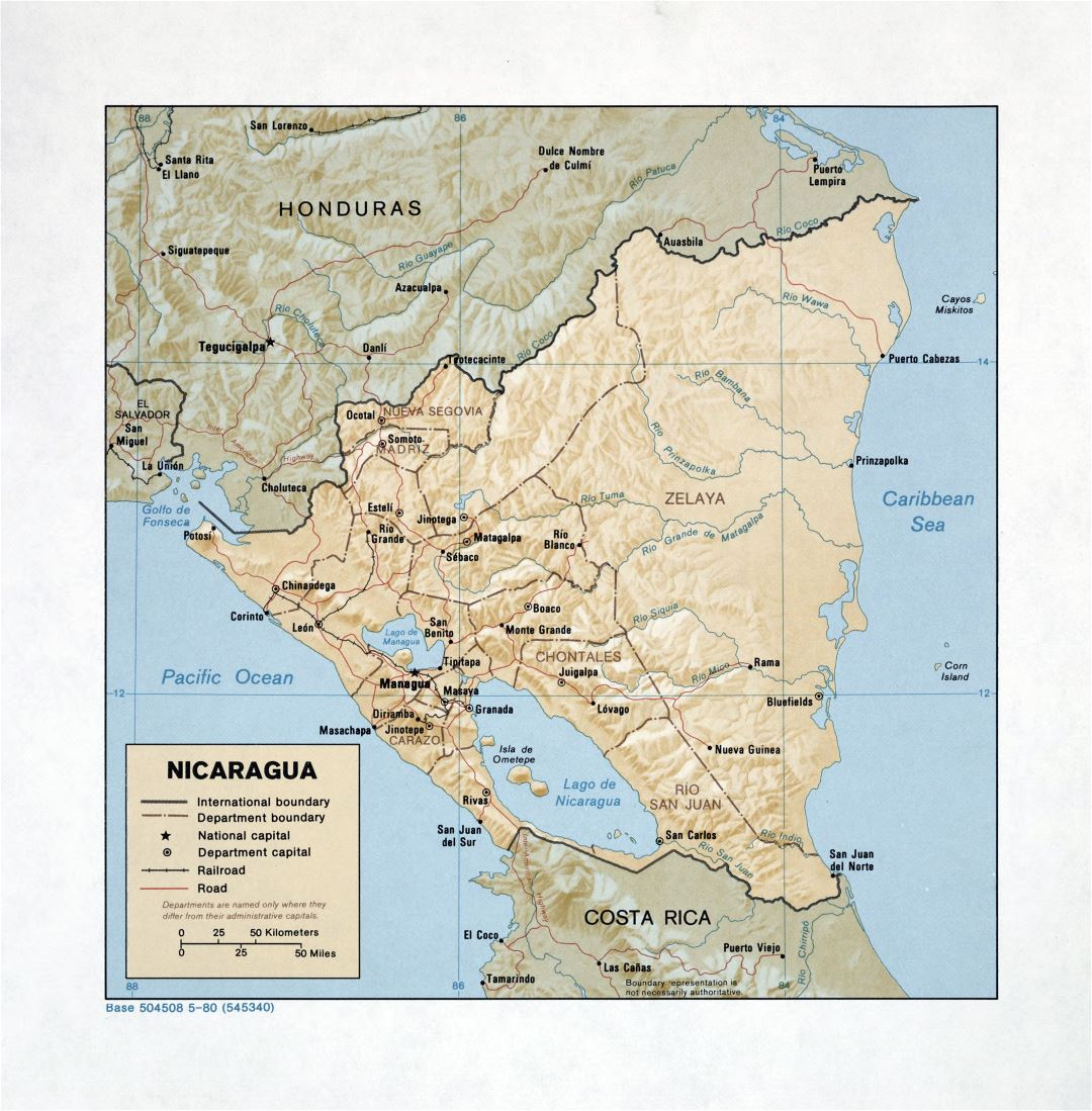Large detailed political and administrative map of Nicaragua with relief, roads, railroads and major cities - 1980