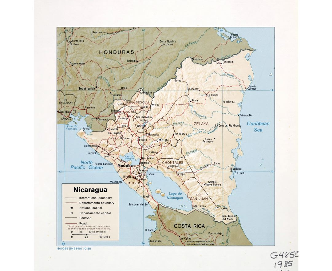 Large detailed political and administrative map of Nicaragua with relief, roads, railroads and major cities - 1985