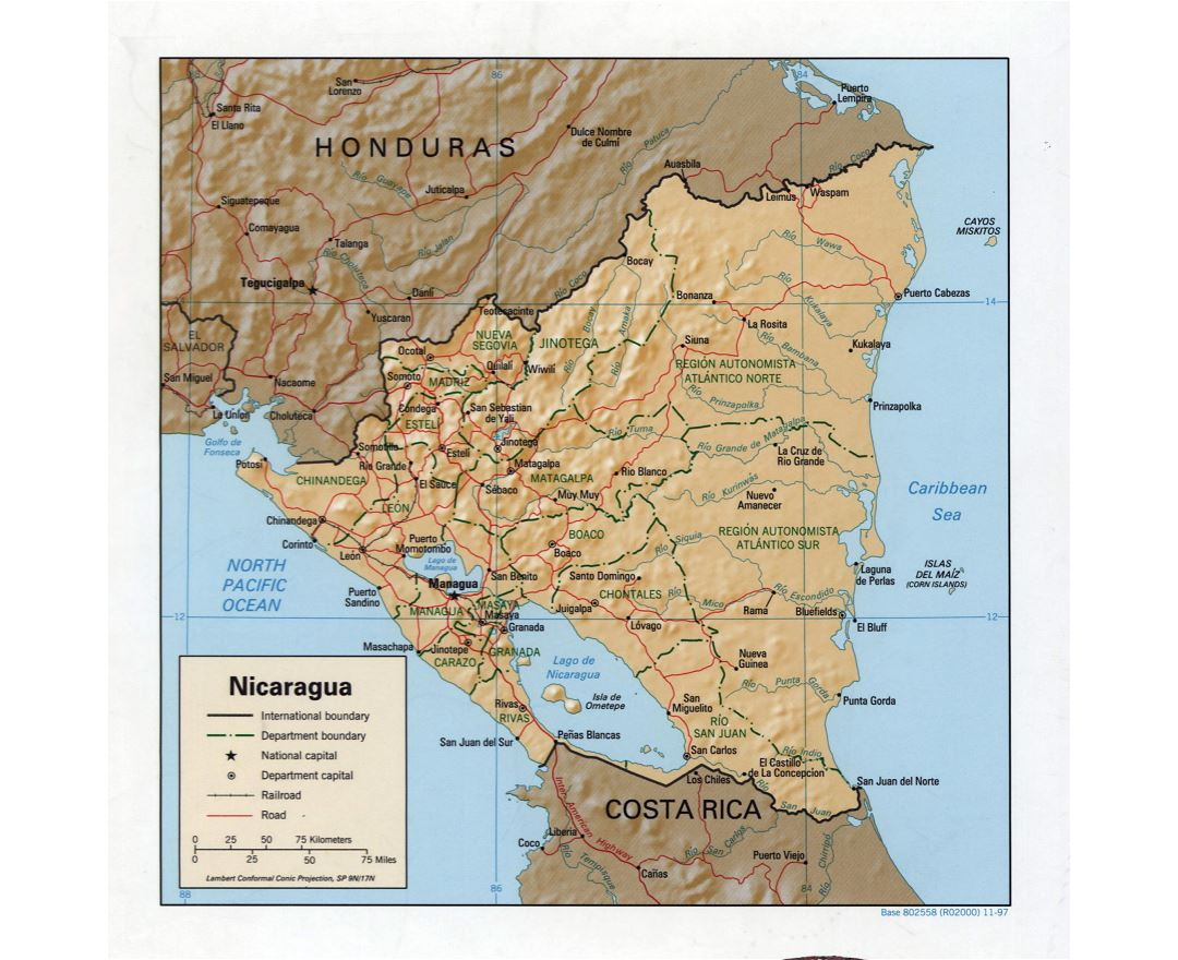 Large detailed political and administrative map of Nicaragua with relief, roads, railroads and major cities - 1997