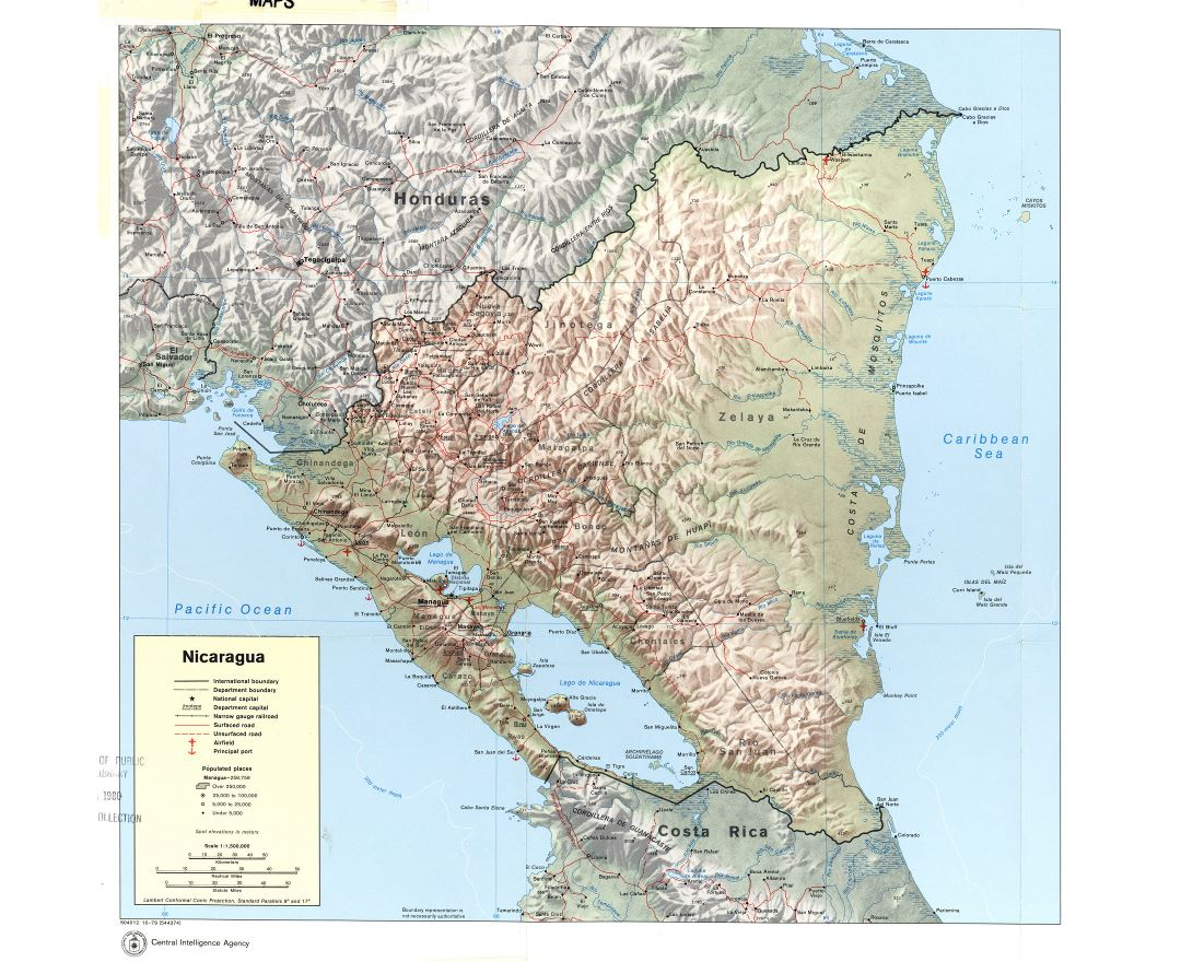 Large detailed political and administrative map of Nicaragua with relief, roads, railroads, cities, ports and airports - 1979