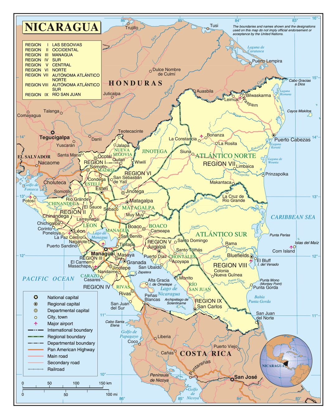 Large detailed political and administrative map of Nicaragua with roads, railroads, cities and airports