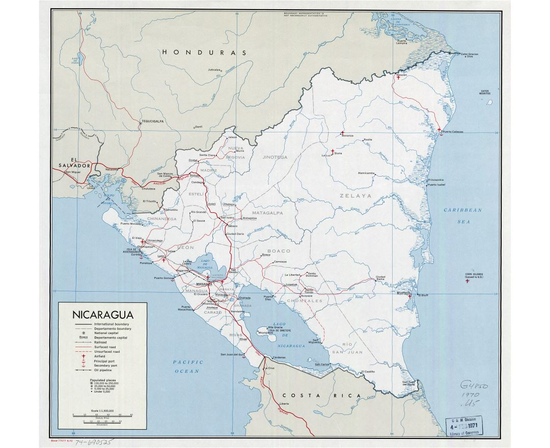 Large detailed political and administrative map of Nicaragua with roads, railroads, major cities, sea ports, airports and other marks - 1970