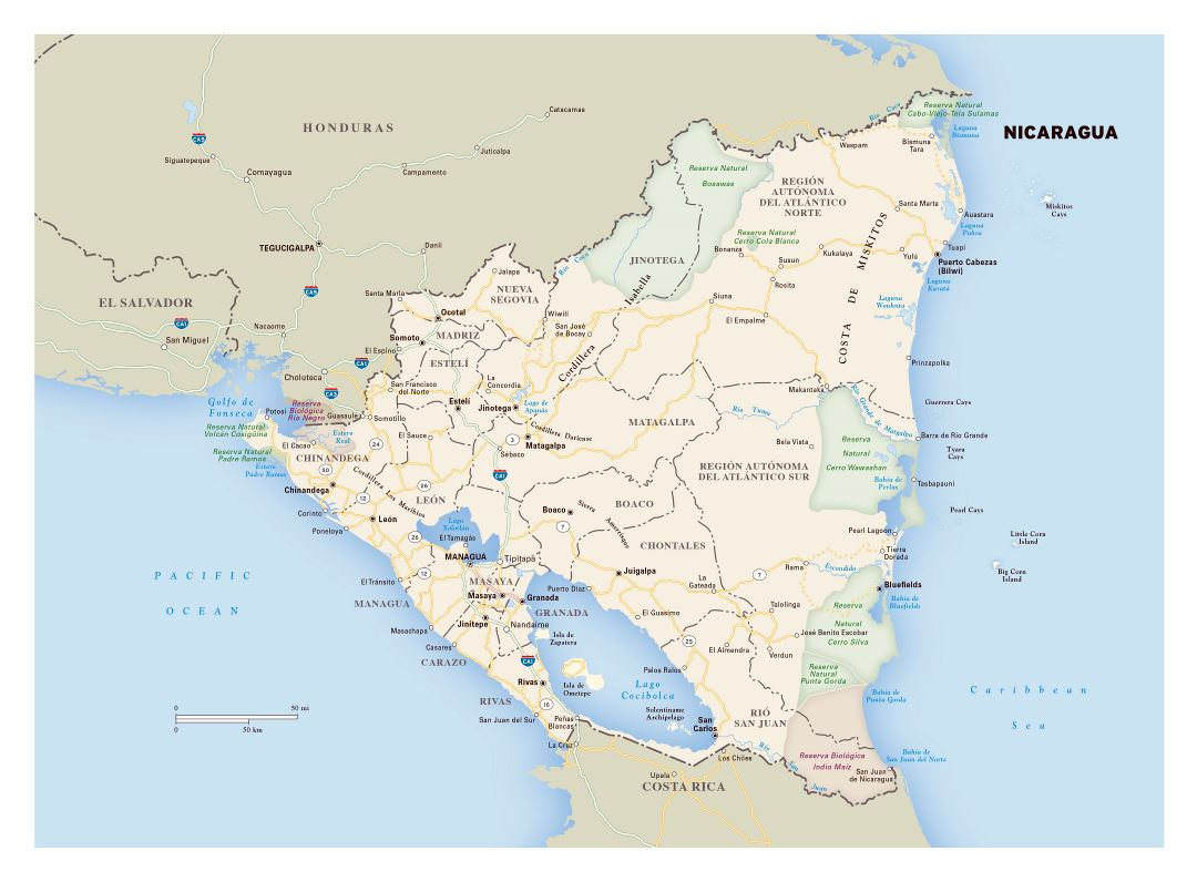 Large detailed road map of Nicaragua with administrative divisons, cities and national parks