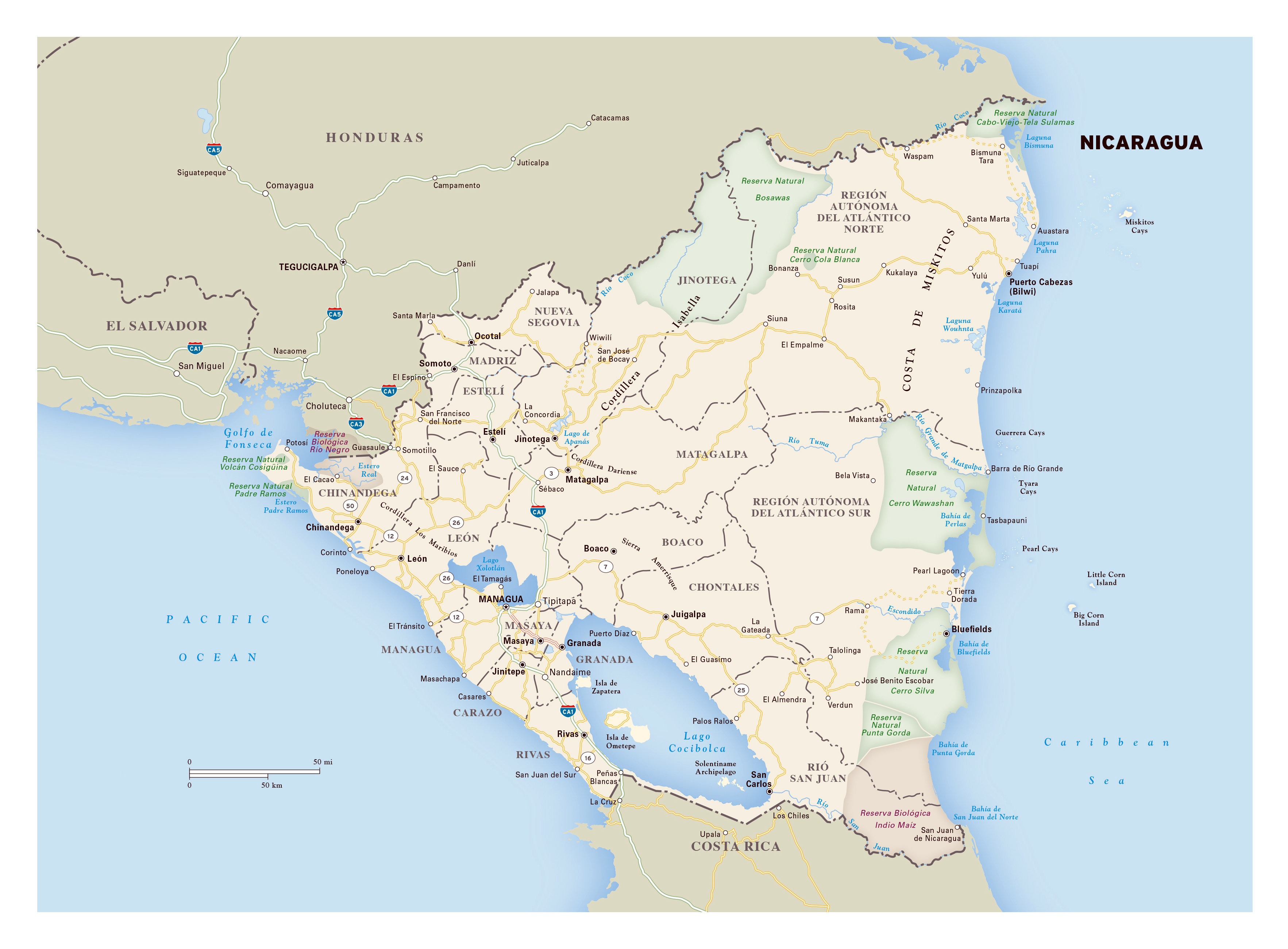 Large Detailed Road Map Of Nicaragua With Administrative Divisons - Nicaragua political map cities
